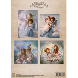 Nellie's Choice - A4 Cardtoppers Sheet - Nellie's Vintage - Angel Friends