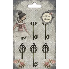 Santoro Mirabelle Antique Key Charms, 6 pcs.