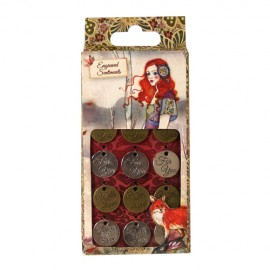 Willow Metal Charms - Engraved Sentiments, 12 pcs.