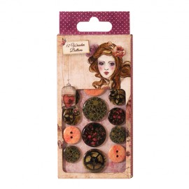 Willow Wooden Buttons, 12 pcs.