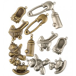Metal Charms - Baby, 12 pcs.