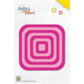 Nellie's Multi Frame's - Straight Dotted Square, 8 dies, max. 105x105 mm