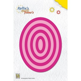 Nellie's Multi Frame's - Straight Dotted Oval, 8 dies, max. 105x105 mm