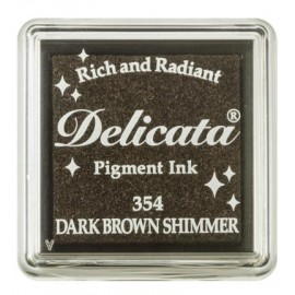 Delicata Pigment Ink Pad - Dark Brown Shimmer, 33 x 33 mm
