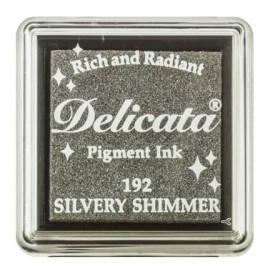 Delicata Pigment Ink Pad - Silver Shimmer, 33 x 33 mm