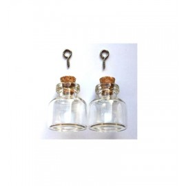 Mini Glass Bottles, with cork & screw hanger, 2pcs / 22x25mm(6mm hole)