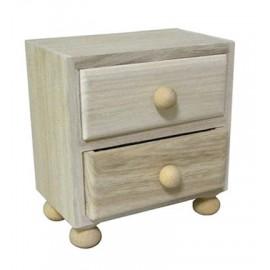 Wooden 2 Drawer Chest, 10,1 x 9,9 x 5,8cm