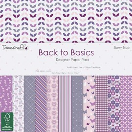 Designer Paper Pack - Back to Basics - Berry Blush. 15 x 15 cm