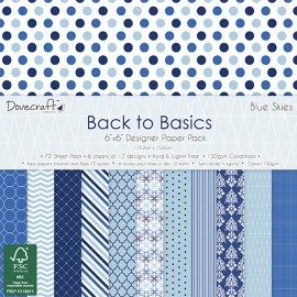 Designer Paper Pack - Back to Basics - Blue Skies. 15 x 15 cm