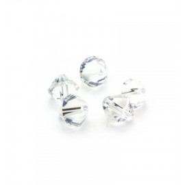 Bicone Beads, Crystal, 25pcs / 6mm