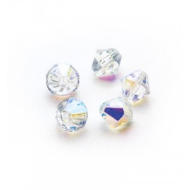 Bicone Beads, Ab Clear, 25pcs / 6mm