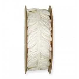 Punched Ribbon - Leaves Cream,  5 mtr. Roll x 23mm width