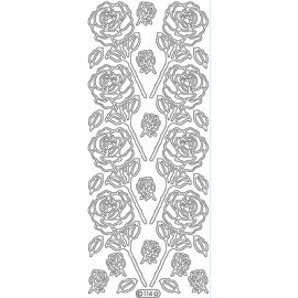Peel-Off Stickers - Silver Roses