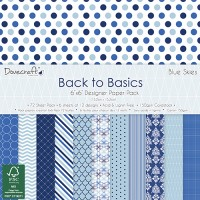 Designer Paper Pack - Back to Basics - Blue Skies. 15 x 15 cm